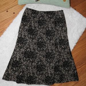 Ann Taylor Black Velvety Skirt 6